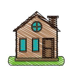 Color crayon stripe cartoon facade village with vector