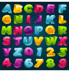Colorful 3D Alphabet and Numbers vector image