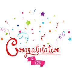 congratulations to you with confetti vector image