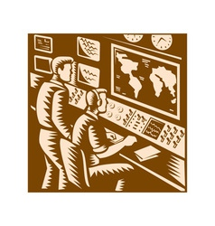 Control Room Command Center Headquarter Woodcut vector image vector image