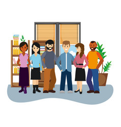 coworkers inside office cartoons vector image