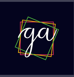 Creative initial letter ga square logo design vector