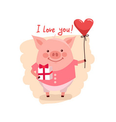 cute cartoon pig with pink large vector image