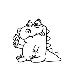 cute dinosaur with ice cream vector image