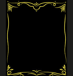 decorative golden border on black vector image