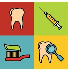 Dentistry medical cartoon icons on color vector image