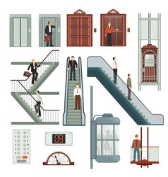 Elevator and stairs set vector
