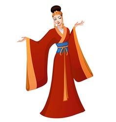 Ethnic dance of cartoon Chinese princess vector