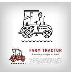 Farm tractor cab icon line art style Isolated vector image