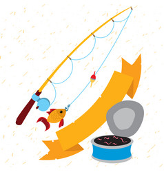 fishing logo hiking mountain climbing travel vector image