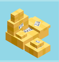 flat carton box transport and packaging shipment vector image