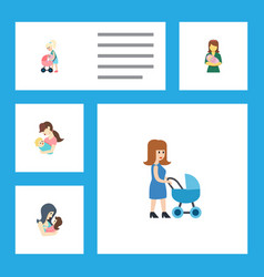 Flat icon mother set perambulator woman vector
