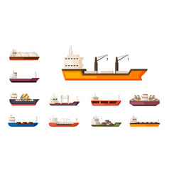 freight sea container ships set heavy ships with vector image