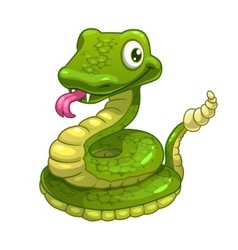 Funny cartoon smiling green snake vector