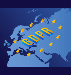gdpr concept with letters stars europe map vector image