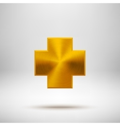 Gold Abstract Cross Button Template vector