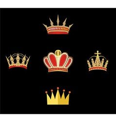 Gold And Red Crown Set Of Crowns Isolated vector image