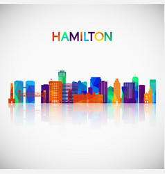 hamilton skyline silhouette in colorful geometric vector image