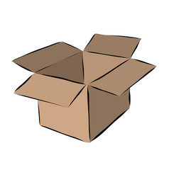 Hand drawn cardboard moving box vector