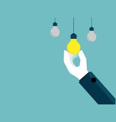 hand pick up bulb idea vector image