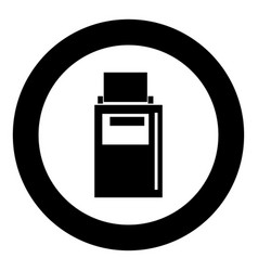 hand terminal black icon in circle vector image
