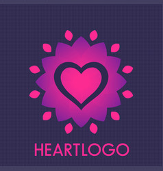 Heart with flower logo element vector