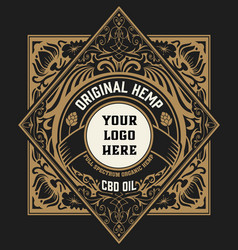 Hemp oil label vintage style layered vector