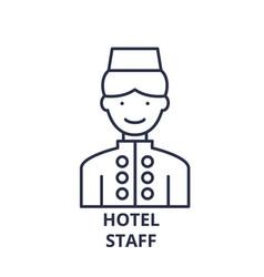 hotel staff line icon concept hotel staff vector image