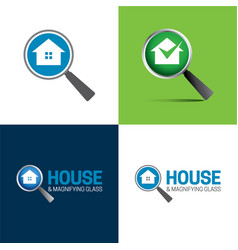 House and magnifying glass logo and icon vector