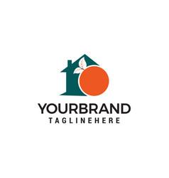 House orange fruit logo design template vector