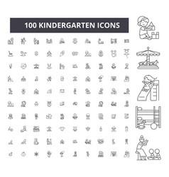 Kindergarten editable line icons 100 set vector