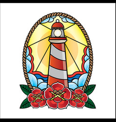 lighthouse of old school tattoos vector image