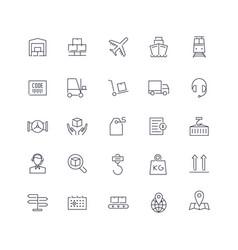 line icons set logistics pack batch vector image