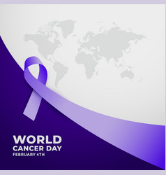 Long purple ribbon for world cancer day vector