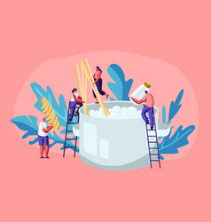 male and female tiny characters cooking pasta vector image