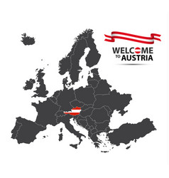 Map europe with state austria vector