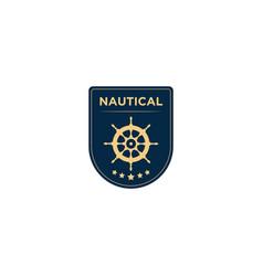 Marine retro emblems logo with ship wheel anchor vector