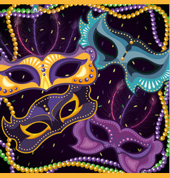 Masks decoration with mardi gras necklace balls vector