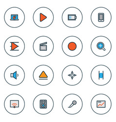 media icons colored line set with smartphone vector image
