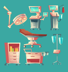 Medical surgery set cartoon hospital vector