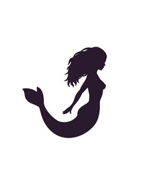 mermaid silhouette isolated on white vector image