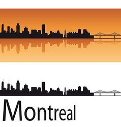 Montreal skyline in orange background vector