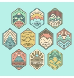 Mountain badges linear 1color vector