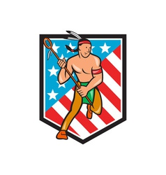 Native american lacrosse player stars stripes vector