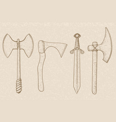 old set of weapons - axes and sword hand drawn vector image