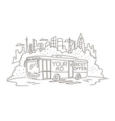 Passenger-carrying coach bus with advertising vector