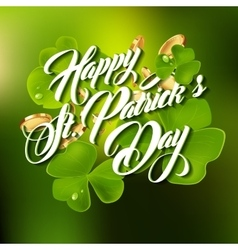 Patrick day lettering greeting card or background vector image