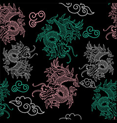 pattern with japan dragons vector image