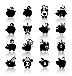Piggy bank set16 with reflection vector