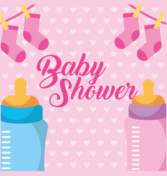 Pink and blue feeding bottle and clothes baby vector